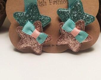 Glitter Stars,Stars clip ,clip set, Clip, Glitter Clip, Rose Gold  Stars,HairClip ,Stars hairclip