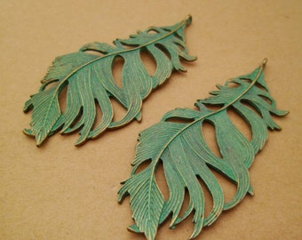 5pcs Large Turquoise Verdigris Patina Feather Pendants Boho Hippie Style Heavy 86x41mm 0201-0201