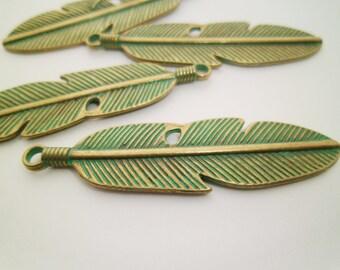 20pcs Delicate Minimalist Turquoise Verdigris Patina Leaf Pendants 59 x 16mm Boho Gypsy 0201-0206