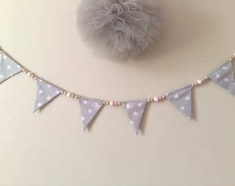 Wooden beaded bunting, garland, grey bunting, wooden beads