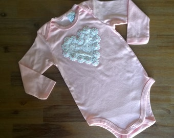 Ivy's Collection Long Sleeve Body Suit (Pink w/ Heart Daisy Chain)