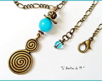 Necklace mi long jade mashan pendant double spiral