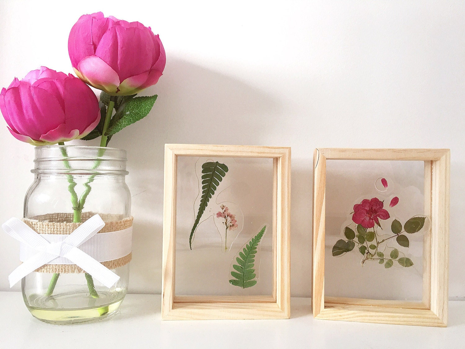 Real flower display wooden frame home decor handmade from for Best selling home decor etsy