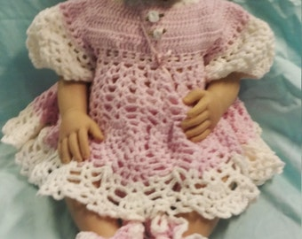 Crochet baby dress, booties, diaper cover. Newborn. Baby shower. Gift. Girl.