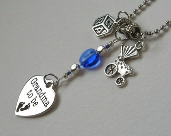Grandma To Be Charm Necklace, baby buggy, ABC block, blue, baby announcement jewelry, heart, Shower Gift, Welcome Baby