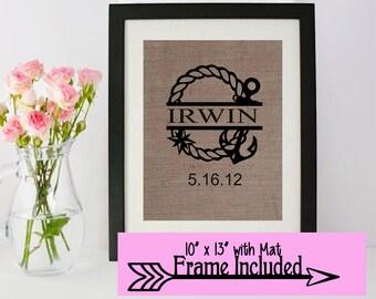 Wedding Gift / Personalized Nautical Sign/ Personalized wedding gift/ Burlap Frame/ Personalized Frame/ Last Name/ Nautical