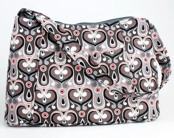 Grey-Black-Red heart Fabric Purse, Fabric Handbag, Casual Purse, Shoulder bag
