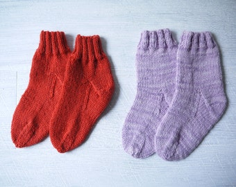 Two Pair Of Hand Knitted Child's Socks - Red & Purple
