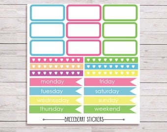 Rainbow days of the week stickers + more for journal, planner and diary