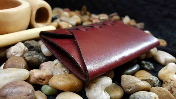 Premium burgundy Origami style stitch less wallet made with English Bridle leather.