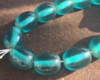 Teal Resin Barrel Beads - 26 Pieces - #171