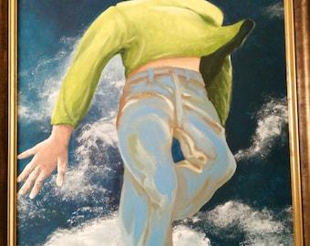 Painting, acrylic, liberty, painting, symbolic, human figure, modern, sky.