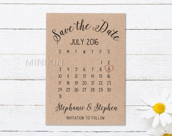 Save The Date Cards, Save The Date Calendar, 100% Recycled, Personalized Wedding, Save The Date, Wedding Invitation, Rustic Wedding x 20