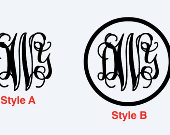 Vine Monogram with or without Circle Boarder
