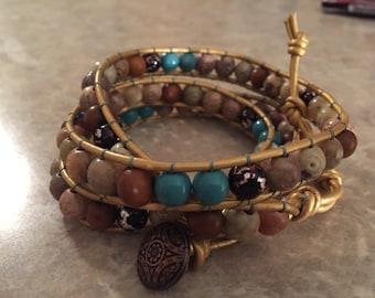 4c beaded wrap bracelet
