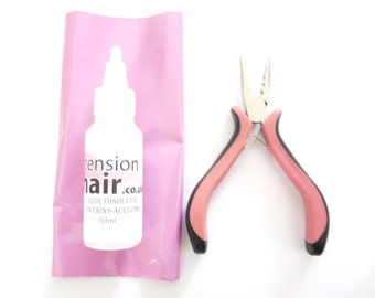 Hair Extension Remover, 100 mil Removal Fluid, pink removal plier and step by step instructions.