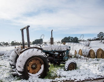 Old and Cold, Tractor, Vintage, Antique,  Machinery, Snow, Farm, Hay, Haybale, Winter, Australia, Photography, Digital Download