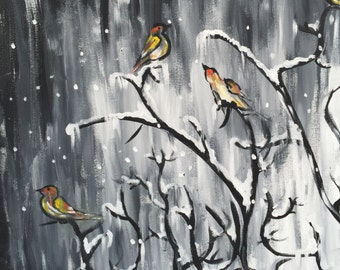 Winter Birds - Acrylic on Stretched  Canvas 20""