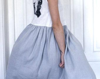 Linen dress, birds, grey linen, white linen, natural linen, bird print, summer dress, beautiful dress, dress with pockets, woodpecker print