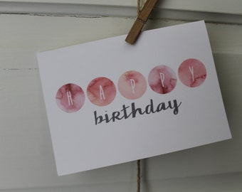 Watercolor Dots Birthday Card
