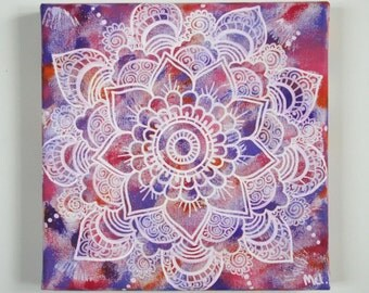 Flower Mandala Painting, Purple Orange Pink and White, Handpainted with acrylic, Hippie art, Home decor, FREE SHIPPING