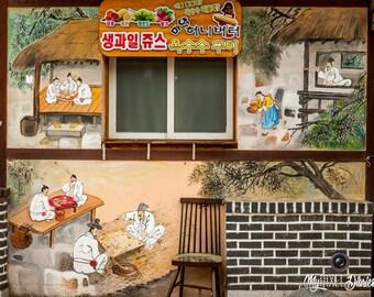 Korea Fine Art, Korea Photo Print, Home Decoration, Korean Handpainted Walls, Jeonju Art Travel, Wall Art, Korean Culture, 24x30, 30x40