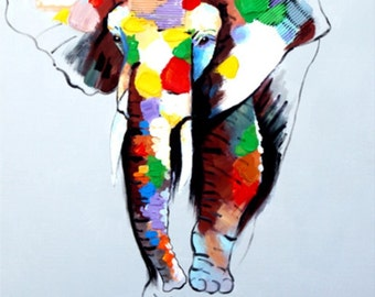 Oil Painting on Canvas by PALETTE KNIFE - Funky Elephant