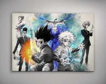 Hunter x Hunter Anime, Anime Poster, Anime Decor, Anime Watercolor, HxH, Gon, Killua, Leolio, Netero