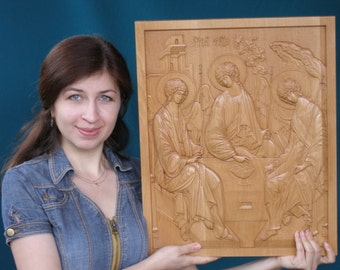 Holy Trinity (1)  - 3D Art Orthodox Wood Carved religious icon