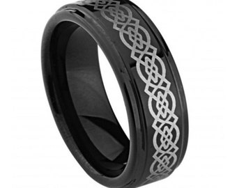 FLASH SALE ** Men's Tungsten Black Enamel Plated High Polish Laser Engraved Celtic Knot Pattern 9mm | Anniversary Band