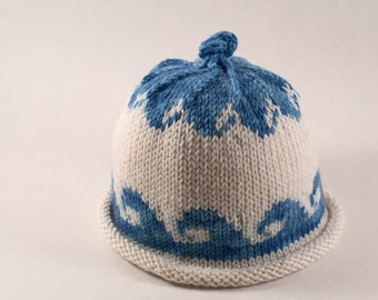 Hand Knit Baby Wave Hat