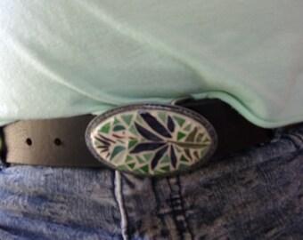Hummingbird mosaic stain glass belt buckle