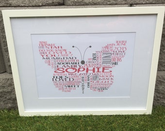 Personalised Butterfly print with frame
