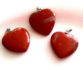 Gemstone heart, red Jasper, 2 cm, heart pendant, red, silver