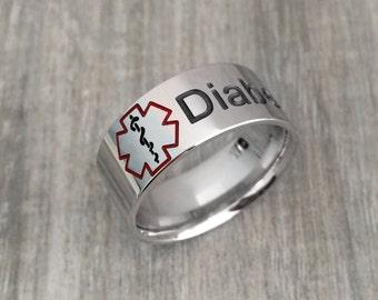 Medical alert ring, awareness ring, diabetic medical ring, medical condition ring, medical jewelry, medical ring, diabetic jewelry