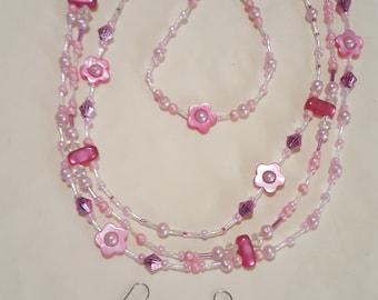 Multi strand pink flower set