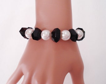EMILY RAY Faux Pearls & Faceted Black Glass Beaded BRACELET w/ Sterling Silver Clasp~