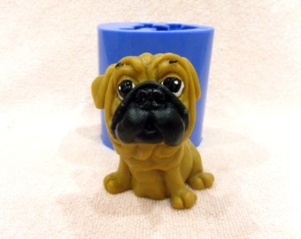 Pug 2 - silicone mold for soap making candles making silicone mould