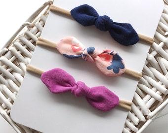 Trio of loop bands | Mini headbands | Loop nylon headbands