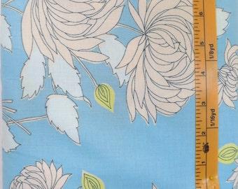 Rowan, Amy Butler, Belle Chrysanthemum, Blue, PWAB115, Blue fabric with cream flowers