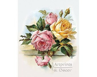 Pink and Yellow Roses by Paul de Longpre Vintage Floral Art Print (8 x 10)