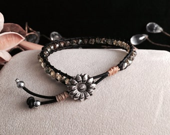 Daisy Crystal Leather Bracelet