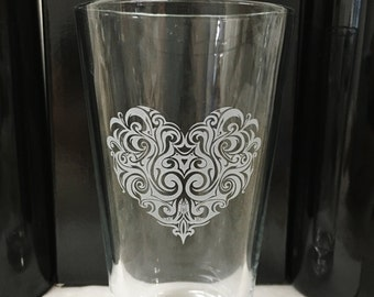 Etched Heart Pint Glass, Beer glass