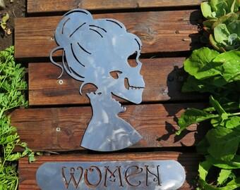 Skeleton Womens Restroom Sign