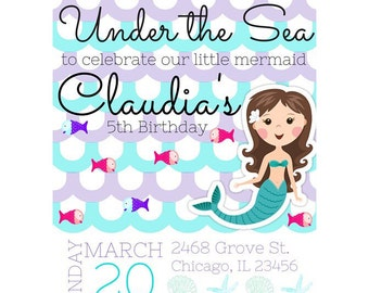 Under the Sea - Mermaid Themed Birthday Invitation