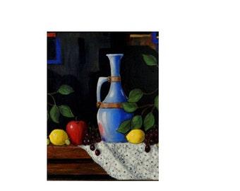 Fruit Still-life, paintings of fruit, still-life, decanter, on CANVAS PRINT ENHANCED