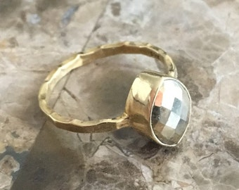 Sale 30% Off Marquise Gold Pyrite Ring Faceted Gold Pyrite Stacking Ring Bezel Set 14K Gold Vermeil Gold SIZE 6 and SIZE 7 Diamond Shape