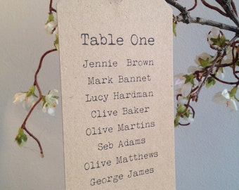 Table Plan Name Tag