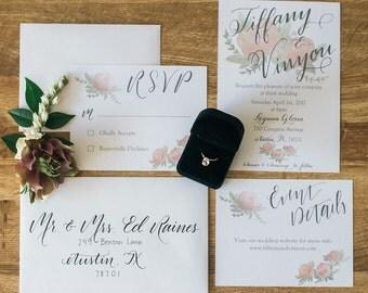 Custom Watercolor Floral Wedding Invitation Suite PDF Printable