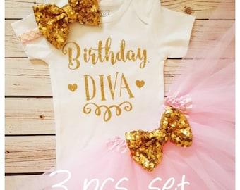 Birthday Diva Baby Girl tutu outfit,Glitter Sparkly Shirt,Bodysuit and Tutu Headband Set,Girls Baby Shower Gift,Pink and gold tutu set